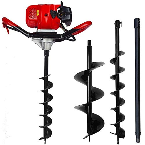 ECO LLC 52cc 2.4HP Gas Powered Post Hole Digger with Two Earth Auger