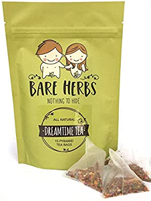 Bare Herbs Dreamtime Tea - Supports Healthy Sleep and Relaxation   with Rose, Chamomile, Lavender, Rooibos, Mint and Lily (15 Pyramid Teabags) by Bare Herbs