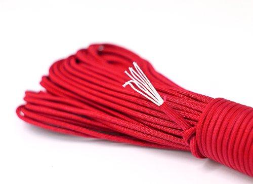 PRECORN Paracord-Seil rot aus reißfestem Parachute Cord 550 lbs 31 m