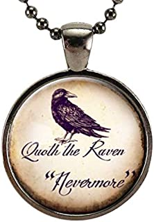 Quoth The Raven Necklace, Edgar Allan Poe Nevermore, Goth Jewelry, Halloween Crow Pendant