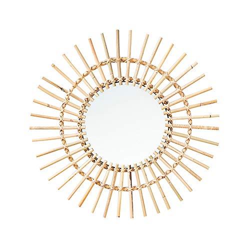 Espejo de maquillaje redondo de ratán natural grande de 55,88 cm para colgar, estilo bohemio, tejido a mano, rústico, innovador, para...