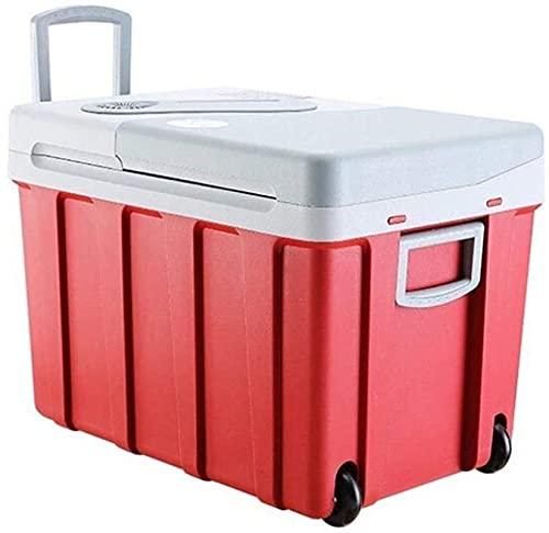 Caja Fresca de 40L sobre Ruedas Refrigerador de automóviles, 12V 240V Coolbox eléctrico portátil de Alta refrigeración Frigorífico Congelador con Mango de Bloqueo automático Viajar y ACA