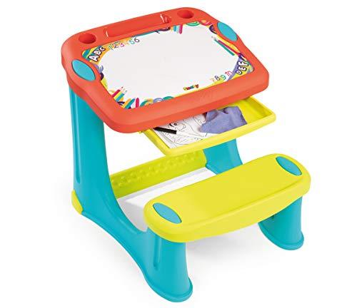 Smoby - Pupitre Magique - Bureau pour Enfant - Feutre Effaçable - 3 Rangements + Tiroir à Glissières - 12 Accessoires Inclus - Dès 2 Ans - 420221