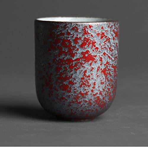 ATYBO Cuenco de Ceremonia del té de cerámica Gruesa Hecha a Mano Antigua Taza de Agua Vintage de 130 ml Taza de té de Boca pequeña Retro gres japonés