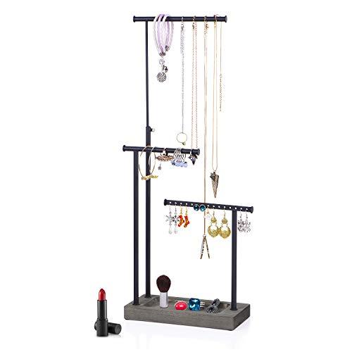 Jewelry Organizer Display Extra Tall Necklace Holder 3 Tier Jewelry Tree Stand (Weathered Grey)