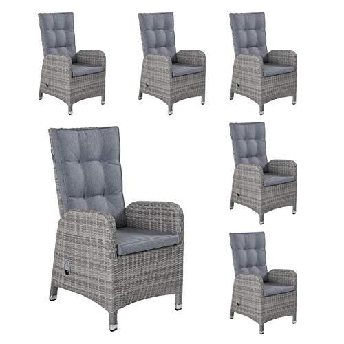 LC Garden Nizza Dining - Juego de 6 sillas de jardín, con Respaldo Alto, Regulables, Color Blanco y Gris, Aluminio y poliratán
