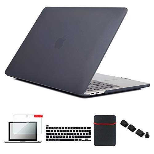 Se7enline 2016/2017/2018/2019/2020 MacBook Pro 13 inch Case Laptop Cover for MacBook Pro Model A2338/A2251/A2289/A1706/A1989/A2159 with Sleeve, Keyboard Cover, Screen Protector, Dust Plug, Black