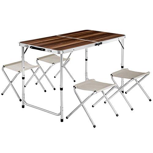 TecTake Koffertisch mit 4 Sitzhocker Campingmöbel Set Aluminium | Totalmaße geklappt 62x62x6,5 cm
