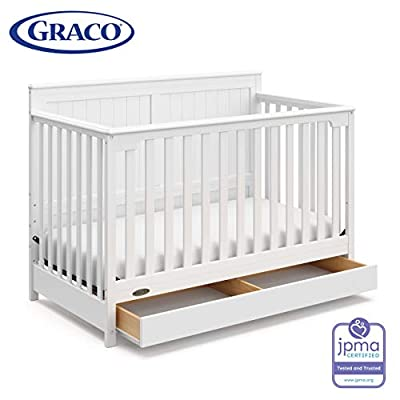 Graco Hadley 4-in-1 Convertible Crib with Drawer, White, Easily Converts to Toddler Bed Day Bed or Full Bed, Three Position Adjustable Height Mattress, Some Assembly Required (Mattress Not Included)