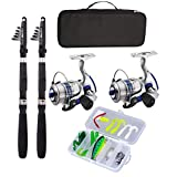 Fishing Pole Combo Set, All-in-one 2.1m/6.89ft Full Kit 2PCS Collapsible Rods + 2PCS Spinning Reels + FishingFishing Pole Combo Set, All-in-one 2.1m/6.89ft Full Kit 2PCS Collapsible Rods + 2PCS Spinni