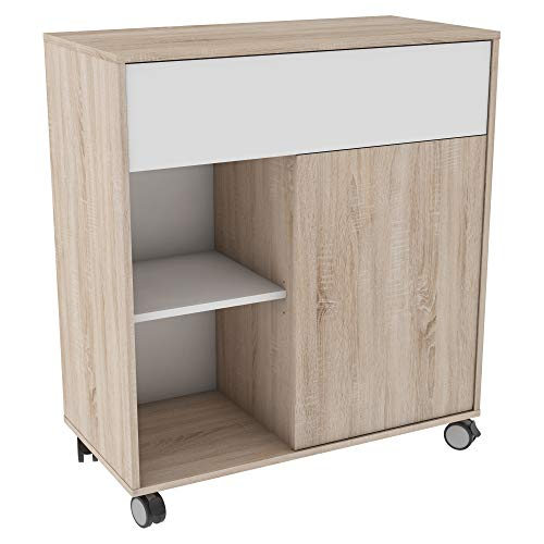 habeig Küchenwagen Eiche #376 weiß Natur Küchentrolley Schublade Holz Rollen Küchenschrank Badschrank