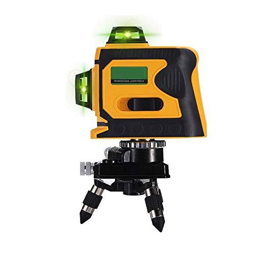 3D 12 Laser Line 360 horizontal y vertical Cruz línea láser verde súper fuerte láser...