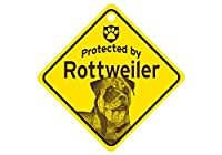 Protected by Rottweiler スモールサインボード:ロットワイラー 監視中 ミニ看板 アメリカ製 Made in U.S.A [並行輸入品]
