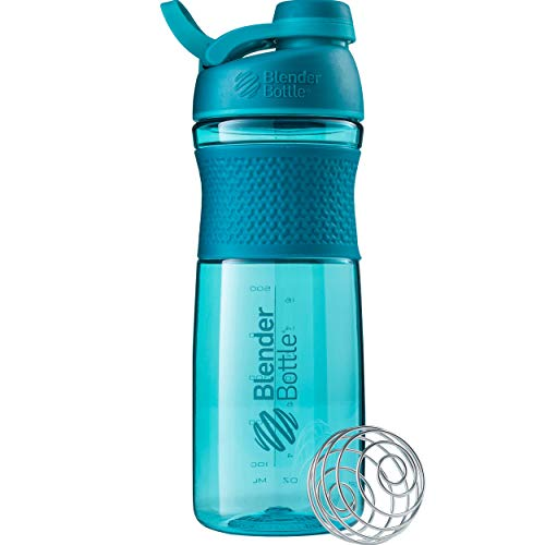 BlenderBottle SportMixer Shaker Bottle Perfect for Protein Shakes and Pre Workout 28-Ounce Teal