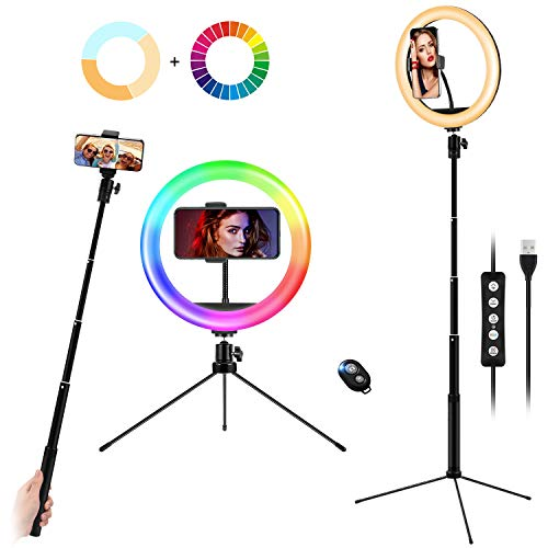 10' Ring Light with Selfie Stick Tripod Stand & Phone Holder, Desktop/Floor Ring Lights for Makeup, 15 RGB Color Modes Circle Light, Height Adjustable LED Ringlight with Remote for YouTube, TikTok