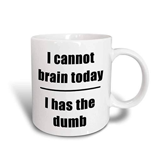 N\A I Cannot Brain Today I Has The Dumb Taza, 11 oz, Negro/Azul