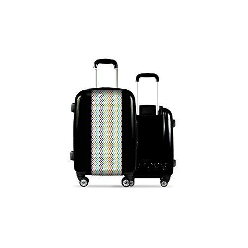 Valise CALIBAG (Taille L) Traits Multicolores Noir