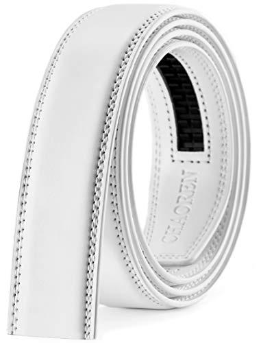 "CHAOREN Ratchet Belt Replacement Strap 1 3/8"", Leather Belt Strap for 40MM Slide Click Buckle (Golf White Belt Strap, 28' to 42' Waist Adjustable)"