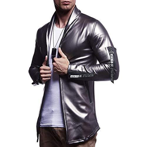 Mannen vis Plain Het nieuwe leer nonchalant lichte kleding winkel Pitsea getailleerde jas dunne PU side Zipper Buckle Norm (kleur: zilver, maat: 2XL)