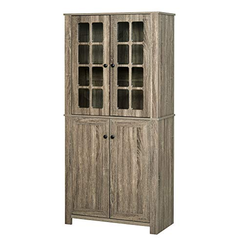 HOMCOM Freestanding Kitchen Pantry Storage with 2 Large Cabinets, 4 Shelves, Framed Glass Doors and Anti-Topple, Wood