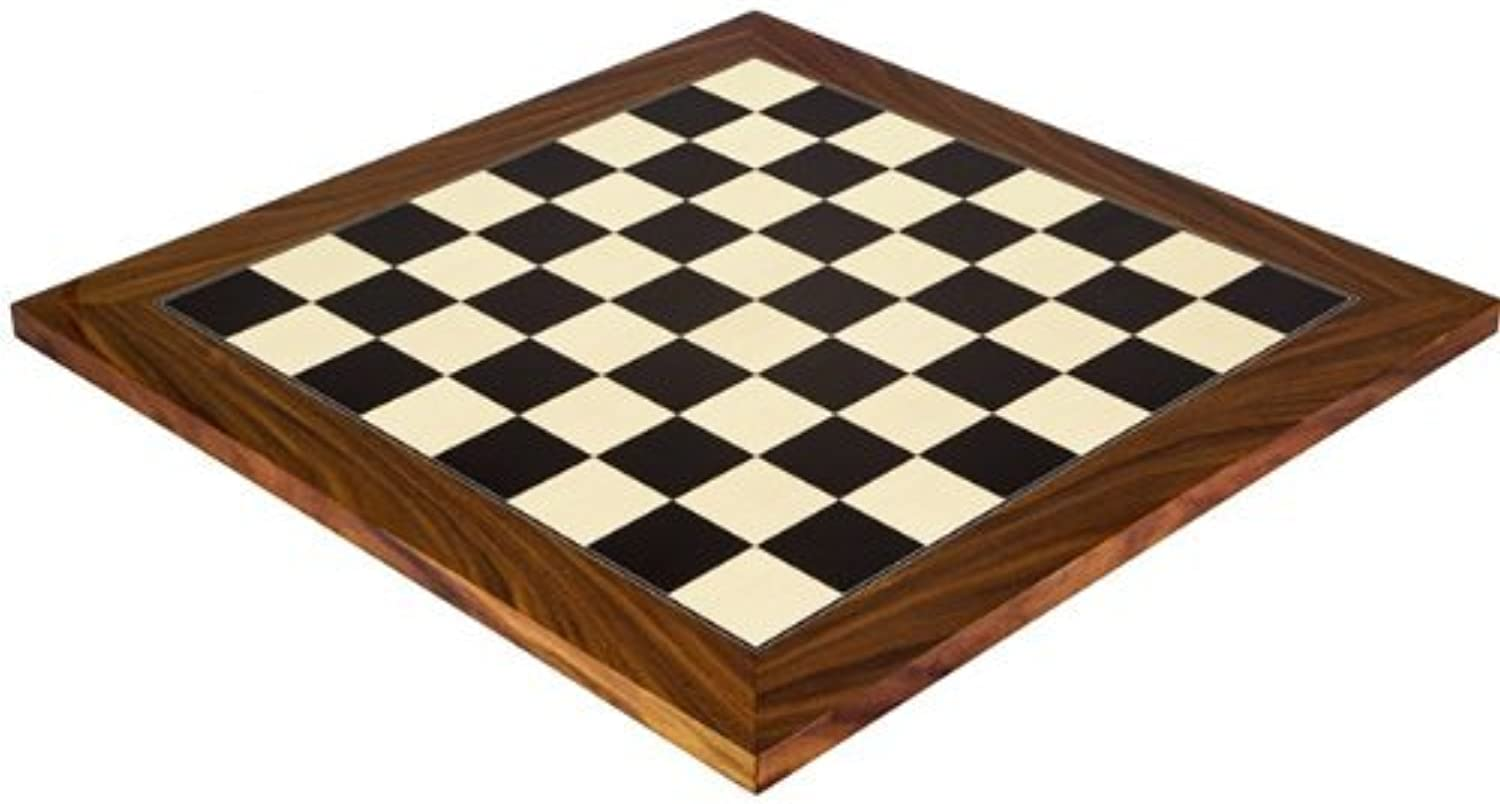 17.75 Inch Black Anegre and Palisander Chess Board High Gloss