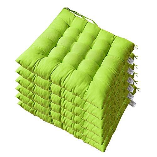 AGDLLYD Cuscini per sedie da Pranzo Cuscino,Cuscini Morbidi per sedie da Giardino, Cucina, Ufficio, Sala da Pranzo, con Laccetto, 40 x 40 x5 cm Confezione da 6. (Verde Mela)