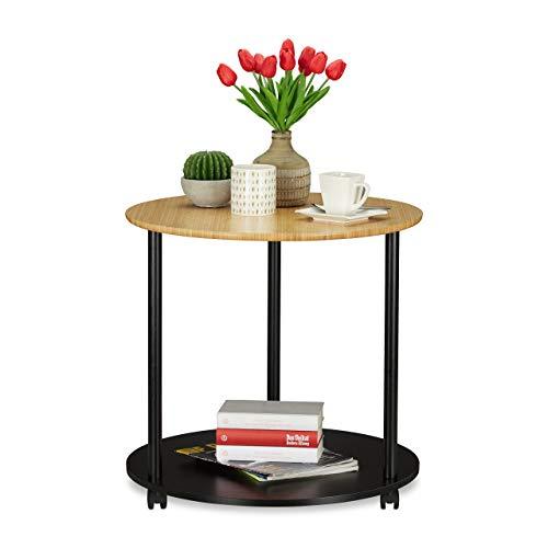Relaxdays Ronde bijzettafel met wieltjes, verrijdbaar, modern design, bamboe, woonkamer, HxD: 59 x 60 cm, zwart/naturel, 59 x 60 x 60 cm