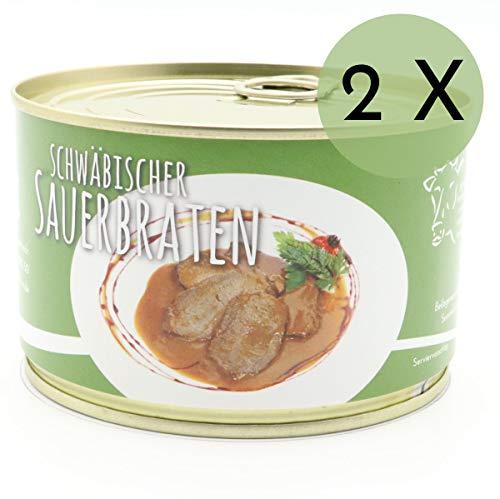 2 X Konserve Diem 400g Sauerbraten vom Rind - Klassische Soße - 240g Fleisch aus der Semmerrolle je Konserve - lange haltbar (16,13€ / Kg)