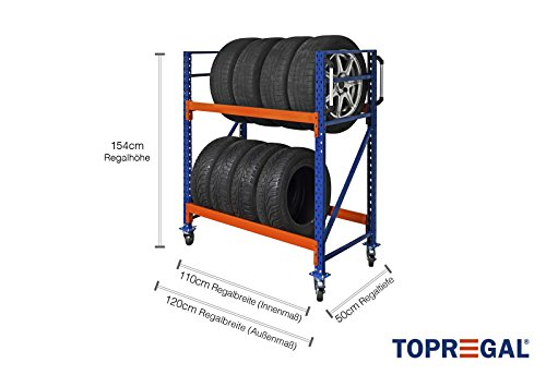 Fahrbares Reifenregal Felgenregal fahrbar Reifenkarre Reifenwagen von TOPREGAL 400kg Fachlast B120xH154xT50cm