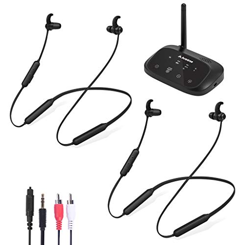 Avantree HT50066, Bundle: Wireless Neckband Earbuds Headphones for TV (2 Pack) with Long Range Bluetooth Transmitter with Bypass, Support Digital Optical, RCA, 3.5mm AUX, No Audio Delay