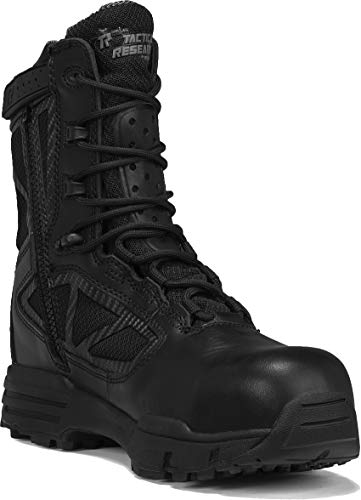 """TACTICAL RESEARCH TR Men s TR CHROME TR998Z WP CT 8"""" Waterproof Side-Zip Composite Toe Boot, Black - 13 R"""