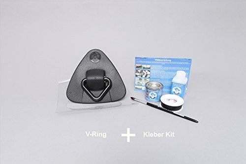 Set: V-ring voor rubberboten + lijm kit, sleepring voor touwen incl. sjabloon