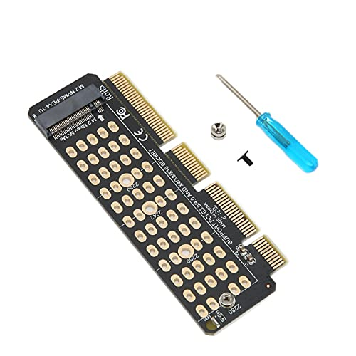 Yunseity M.2 NGFF NVMe SSD A PCIe 3.0 X4 Adaptador Compatible con SSD 2280/2260/2242/2230 Compatible con PCIe X4 / X8 / X16 para Servidor 1U Y PC De Perfil Bajo