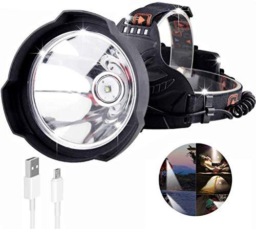 ACBIC Linterna frontal para exteriores, súper brillante USB recargable LED 35000 lúmenes Linterna frontal LED Luz de casco Casco Lámpara de cabeza Uso potente 18650 para pesca Senderismo Caminar