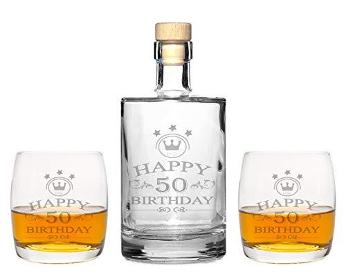 foryou24 2 mooie whiskeyglazen met whiskeykaraf Happy Birthday gravure - whiskyset gegraveerd cadeau-idee 50 Jahre