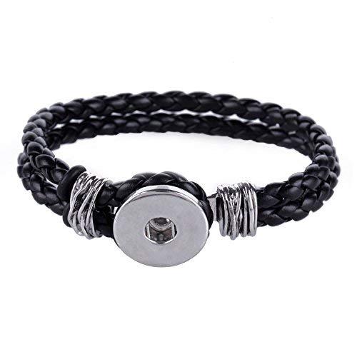 Morella Damen Click-Button Armband Kunstleder geflochten schwarz