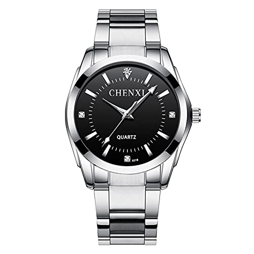 aimuzi Pareja Reloj Reloj Dual Zona horaria Negocio Reloj de Rhinestone Moda Cuarzo Vestido de Mujer Impermeable Acero Inoxidable Relojes de Pulsera,Male Black