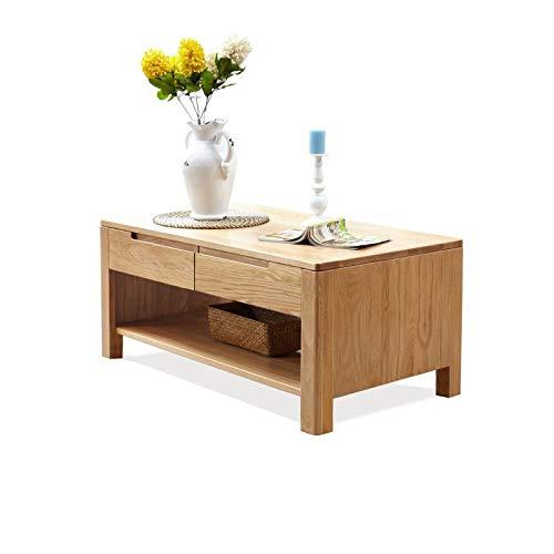 Z-GJM puur massief houten salontafel wit eiken salontafel met vier laden theetafel met scheidingswand woonkamer het kan niet alleen het gemak van uw leven brengen, maar ook decoreren en Colo toevoegen A