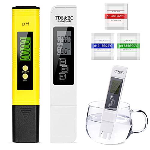 Testeur pH Mètre électronique,4-en-1Mesure Ph & TDS & EC Température,Testeur de qualité de l'eau,Testeur numérique avec Écran LCD Test pour Piscine, Spa, Aquarium, Hydroponie, Eau Potable
