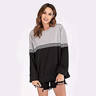 LICHONGGUI Round Neck Long Sleeve Colorblock Plaid Web Sweatshirt 2020 Fashion icon (Color : Dark Gray, Size : L)
