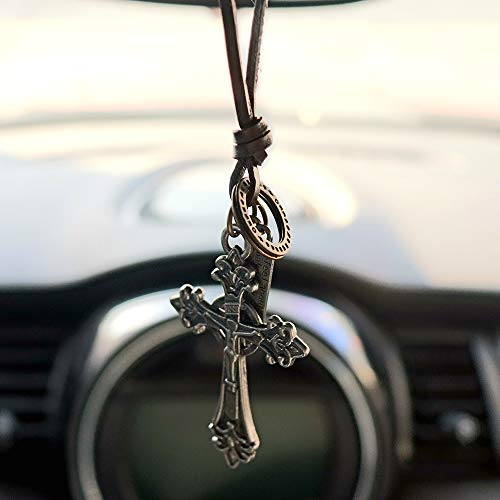 INEBIZ Retro Alloy Cross Crucifixion Woven Cowhide Car Charm Interior Rearview Mirror Decoration Hanging Pendant Fashion Necklace (Silver)