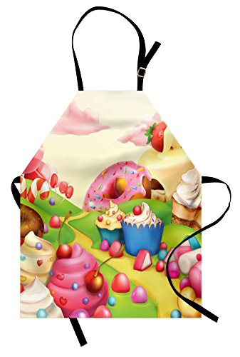 Ambesonne Modern Apron, Yummy Donuts Land Cupcakes Ice Cream Cotton Candy Clouds Design, Unisex Kitchen Bib with Adjustable Neck for Cooking Gardening, Adult Size, Cream Pink