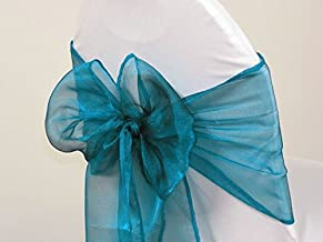 Mds 100 Pieces Teal Organza Organza chair sashes bow Sash for wedding and Events Supplies Party Decoration chair cover sash