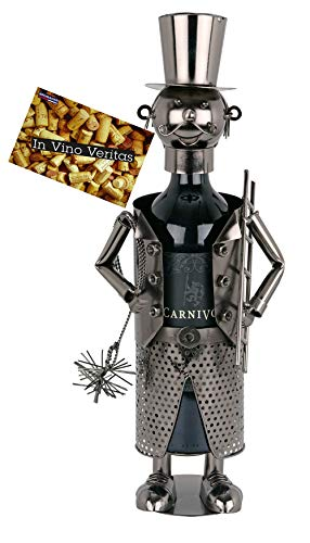 Brubaker Flaschenhalter Schornsteinfeger Metall Skulptur mit Geschenkkarte