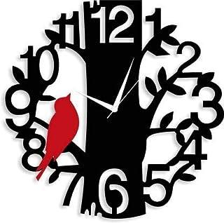 MUKKA Enterprises (29.5 x 29 cm)'Bold and Beautiful' Big Number Wood Designer Wall Clock for Home Decor (Red Bird)