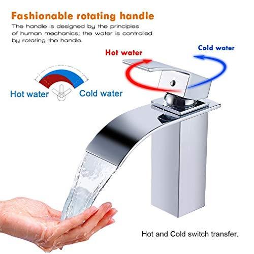 Auralum® Elegant Einhebel Mischbatterie Wasserhahn Armatur Waschtischarmatur Wasserfall Einhandmischer für Bad Badezimmer Waschbecken - 6