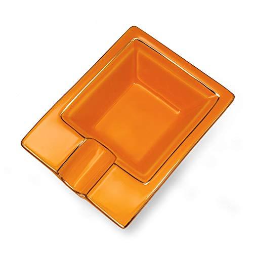 SHYPT Marco de cenicero de cerámica Rectangular, cenicero de un Solo Cigarrillo, Mini cenicero para el hogar o al Aire Libre, Amarillo