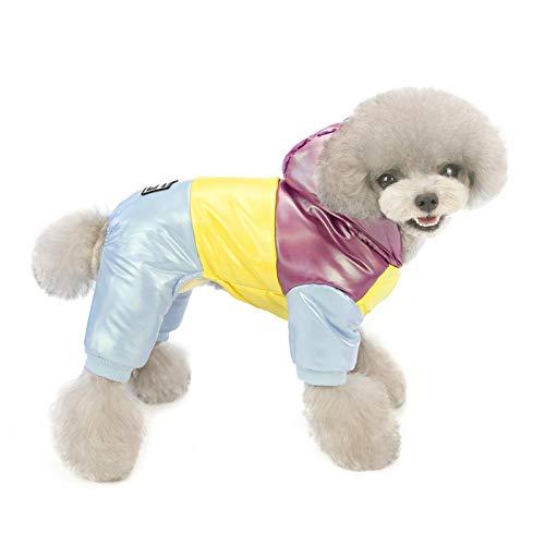 Enjoyyouselves 4-beinige Hundekleidung, Regenbogen Baumwolle Haustier Kleidung Winter Verdicken Warmen Mantel Kapuzenjacke Hundekleidung Weste für Hund Haustier