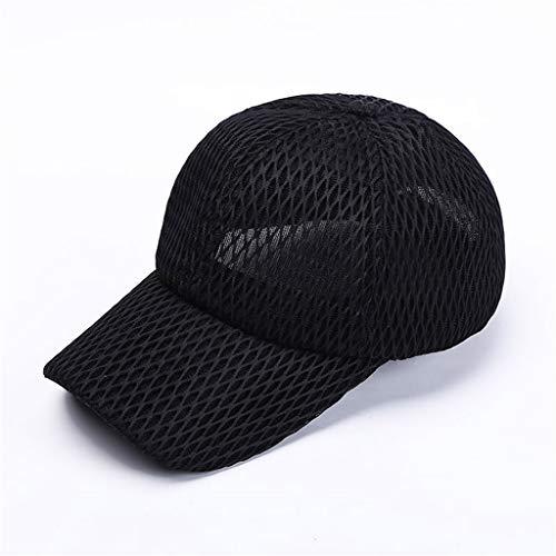 UJUNAOR Ponytail Messy Buns Trucker Plain Baseball Visor Cap Dad Hat Black