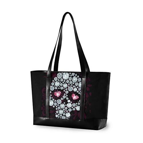 Sugar Skulls Laptop Tote Bag,Fits 15.6 Inch Laptop,Womens Lightweight Canvas Leather Tote Bag Shoulder Bag(g)